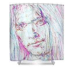 Neil Young - Colored Pens Portrait Shower Curtain by Fabrizio Cassetta