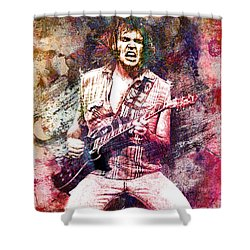 Neil Young Original Painting Print Shower Curtain by Ryan Rock Artist