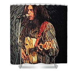 Neil Young Shower Curtain by Taylan Soyturk