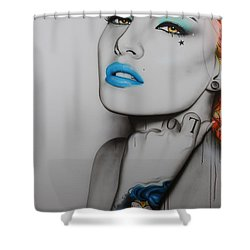 'neon Day Of The Dead' Shower Curtain by Christian Chapman Art