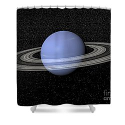 Neptune And Its Rings Against A Starry Shower Curtain by Elena Duvernay