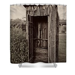 Nevada City Ghost Town Outhouse - Montana Shower Curtain by Daniel Hagerman