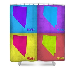 Nevada Pop Art Map 1 Shower Curtain by Naxart Studio