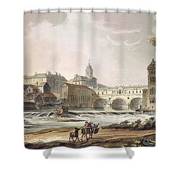 New Bridge, From Bath Illustrated Shower Curtain by John Claude Nattes
