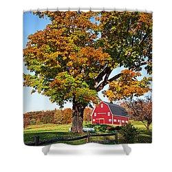New England Farm Fall Foliage Shower Curtain by Edward Fielding