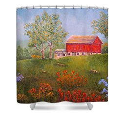 New England Red Barn Summer Shower Curtain by Pamela Allegretto