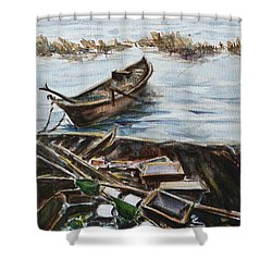 New England Wharf Shower Curtain by Xueling Zou