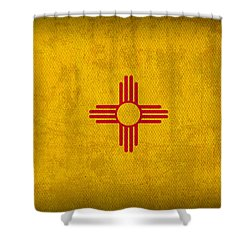 New Mexico State Flag Art On Worn Canvas Shower Curtain by Design Turnpike