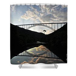 New River Bridge -  Base Jumper Shower Curtain by Dan Friend