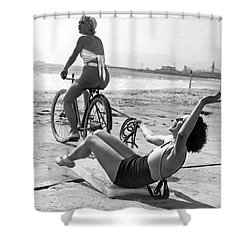New Sport Of Ice Planing Shower Curtain by Underwood Archives