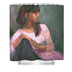 New Year's Blossom - Textural Original Oil On Canvas Portrait Shower Curtain by Quin Sweetman