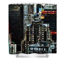 New York At Night - Skyscrapers And Office Windows Shower Curtain by Miriam Danar