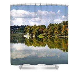 New York Cincinnatus Lake Shower Curtain by Christina Rollo