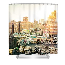 New York City - Graffiti Rooftops Of Chinatown At Sunset Shower Curtain by Vivienne Gucwa