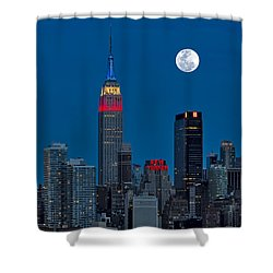 New York City Moonrise  Shower Curtain by Susan Candelario