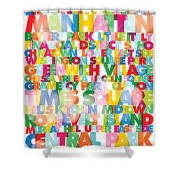 New York City Names Shower Curtain by Gary Grayson