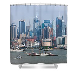 New York City Parade Of Sail I Shower Curtain by Clarence Holmes