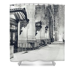 New York City - Snowy Winter Night Shower Curtain by Vivienne Gucwa