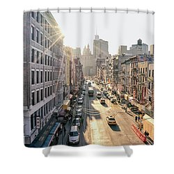 New York City - Sunset Above Chinatown Shower Curtain by Vivienne Gucwa