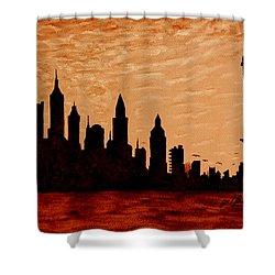 New York City Sunset Silhouette Shower Curtain by Georgeta  Blanaru