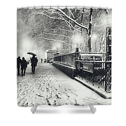New York City - Winter - Snow At Night Shower Curtain by Vivienne Gucwa