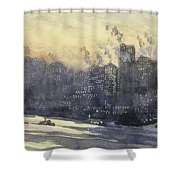 New York Harbor And Skyline At Night Circa 1921 Shower Curtain by Aged Pixel