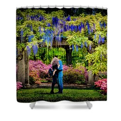New York Lovers In Springtime Shower Curtain by Chris Lord
