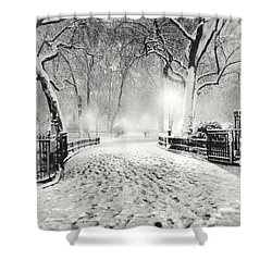 New York Winter Landscape - Madison Square Park Snow Shower Curtain by Vivienne Gucwa