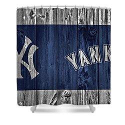 New York Yankees Barn Door Shower Curtain by Dan Sproul