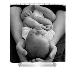 Newborn In Arms Shower Curtain by Lisa Phillips