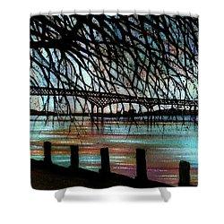 Newburgh - Beacon Bridge Night Sky Shower Curtain by Janine Riley