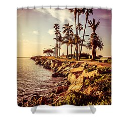 Newport Beach Jetty Vintage Filter Picture Shower Curtain by Paul Velgos