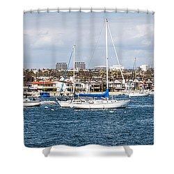 Newport Beach Panorama Shower Curtain by Paul Velgos