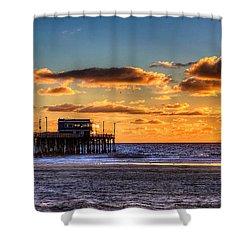 Newport Beach Pier - Sunset Shower Curtain by Jim Carrell