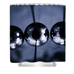 Newtons Cradle Shower Curtain by Stelios Kleanthous