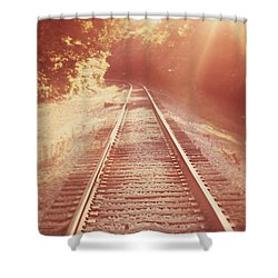 Next Stop Home Shower Curtain by Amy Tyler