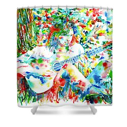 Nick Drake Playing The Guitar Under A Tree Watercolor Portrait Shower Curtain by Fabrizio Cassetta