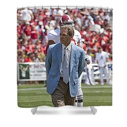 Nick Saban Head Football Coach Of Alabama Shower Curtain by Mountain Dreams