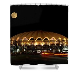 night and moon WVU basketball arena Shower Curtain by Dan Friend