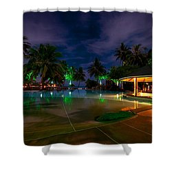 Night At Tropical Resort 1 Shower Curtain by Jenny Rainbow