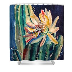 Night Blooming Cactus Shower Curtain by Carolyn Jarvis