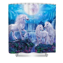 Night Horses Shower Curtain by Jan Patrik Krasny