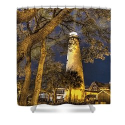 Night Lighthouse Shower Curtain by Debra and Dave Vanderlaan
