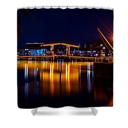 Night Lights On The Amsterdam Canals 1. Holland Shower Curtain by Jenny Rainbow