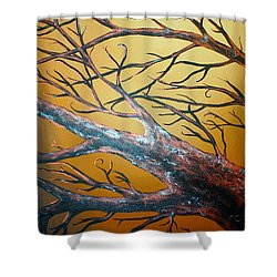 Night Of The Eclipse Panel 3 Shower Curtain by Teshia Art