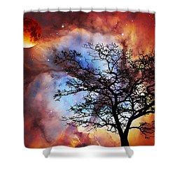 Night Sky Landscape Art By Sharon Cummings Shower Curtain by Sharon Cummings