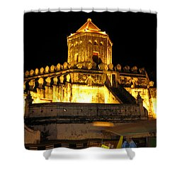 Night Temple Shower Curtain by Oliver Johnston