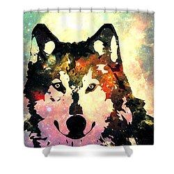 Night Wolf Shower Curtain by Anastasiya Malakhova