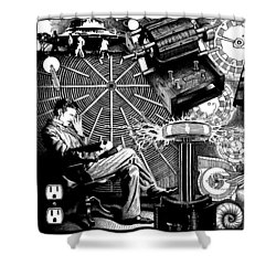 Tesla Shower Curtain by Matthew Ridgway