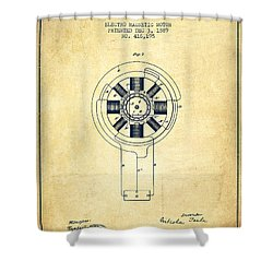 Nikola Tesla Patent Drawing From 1889 - Vintage Shower Curtain by Aged Pixel